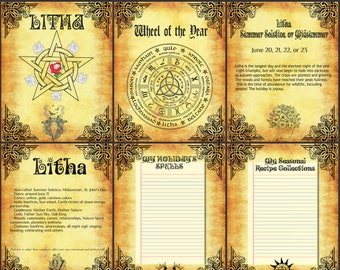 Litha Summer Solstice-BOS 10 Pages- Litha pagan holiday-Litha Ritual Ideas Printable