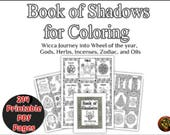 Coloring Book of Shadow Printable 214 pages Wiccan book, Wheel of the year print