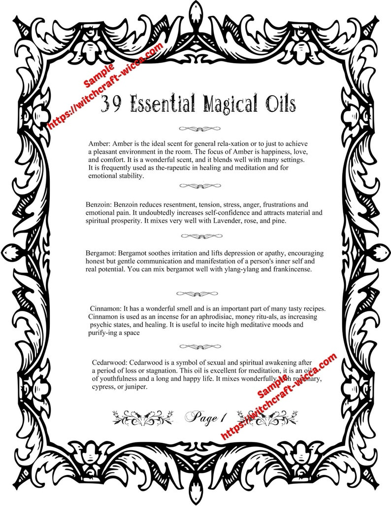 Printable Book of Shadows 8 Pages for Coloring 39 Magic Essential Oils and  How to Use Them for Spells- (8 PDFs)