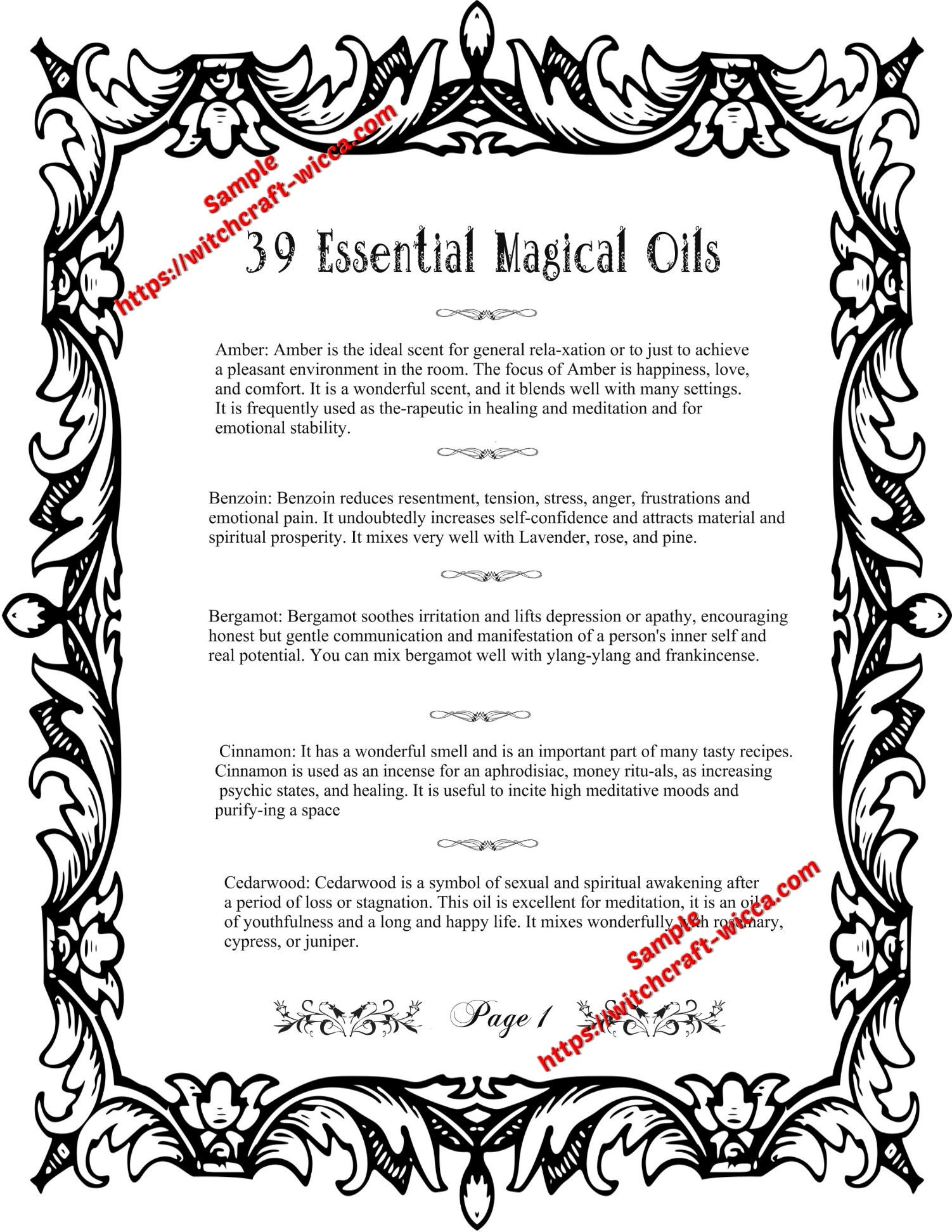 graphic relating to Printable Book of Shadows called Printable Reserve of Shadows 8 Internet pages for Coloring 39 Magic Crucial Oils and How toward Employ the service of Them for Spells- (8 PDFs)