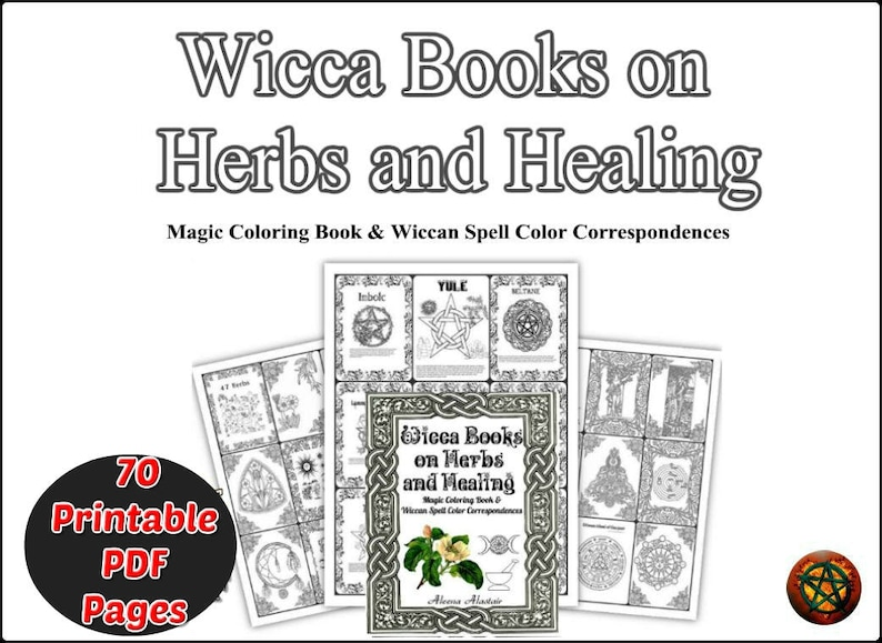 Wiccan Magical Herbs Book of Shadow for Coloring, Wicca Magic Pagan herbs