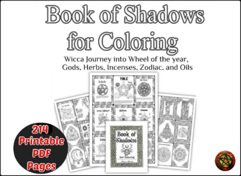 photograph regarding Printable Wiccan Coloring Pages known as Coloring E-book of Shadow Printable 214 internet pages Wiccan reserve, Wheel of the 12 months print