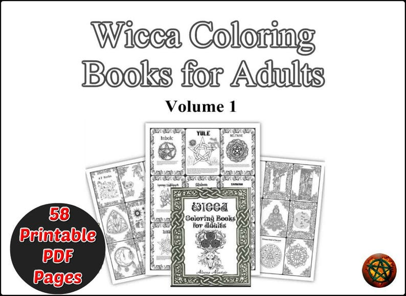 graphic relating to Printable Wiccan Coloring Pages identified as Guide of Shadows coloring web pages 58 Internet pages, Wicca Coloring Ebook Grimoire printable - Vol 1 (PDF)