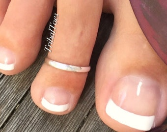 2mm Band Toe Ring | 925 Sterling Silver Toe Ring | Open Adjustable Toe Ring | Silver Midi Ring