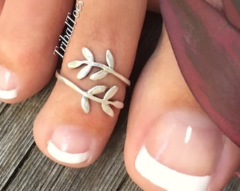 Leaf Wrap Toe Ring | 925 Sterling Silver Toe Ring | Bypass Toe Ring | Open Adjustable Wrap | Silver Leaf Midi Ring