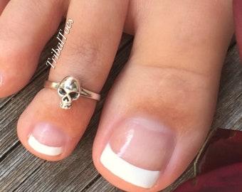 Sterling Silver Toe Ring Midi Ring SKULL
