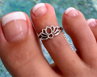 Lotus Flower Toe Ring | Sterling Silver Toe Ring | Silver Midi Ring | Open Adjustable Toe Ring