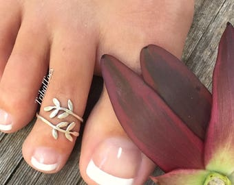 925 Sterling Silver Toe Ring Leaf Wrap Around Beach Feet Midi Ring Adjustable Olive Branch