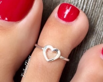Open Heart | 925 Sterling Silver Toe Ring | Adjustable Open Ring | Silver Midi Ring