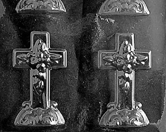 R024 Small Cross with Base Chocolate Candy Soap Mold