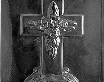 R025 Large Cross with Base Chocolate Candy Soap Mold