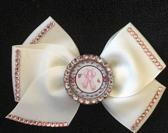 Beautiful Ivory And Pink Ballet Slippers Hair Bow