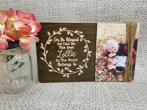 Personalized Grandmother Picture Frame Board I Love My Mimi Rustic