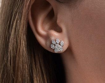 Cute Paw Trail 925 Sterling Silver Hook Dangle Earrings For European Women Gift