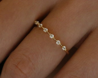 Ultra Thin Floating Eternity Band in Gold Vermeil or Rhodium over Sterling Silver