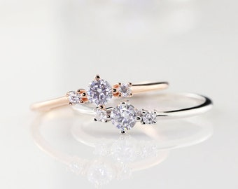 14k Rose Gold Filled Ring,Cubic Zircon Ring,Stack Unique Ring,Gemstone Ring,Engagement Ring,White Stone Ring,Midi Rings,Gift For Her
