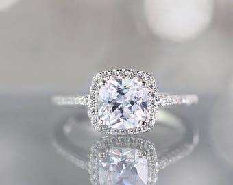 2 Carat Halo Engagement Ring, Cushion Cut Simulated Diamond, Statement Ring Sterling Silver 925  Classic Timeless Promise Wedding Ring