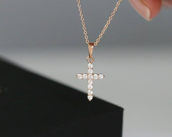 06e9c199c01268 Dainty Cross Necklace in 14K Gold Vermeil, 14K Rose Gold Vermeil or Rhodium  over Sterling Silver
