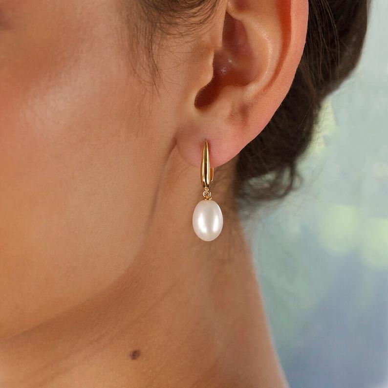 Fresh Water Drop Pearl Earrings in 14K Gold Vermeil