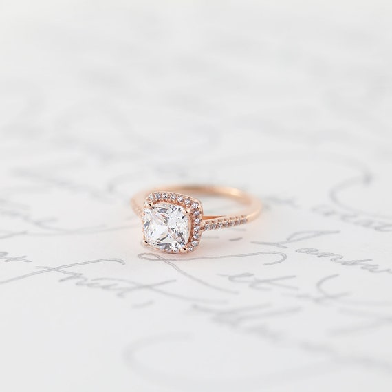 Rose Gold Cushion Cut Halo Engagement Ring Promise Ring Sterling Silver Princess Classic Halo Ring Simulated Diamond Bridal Wedding 925