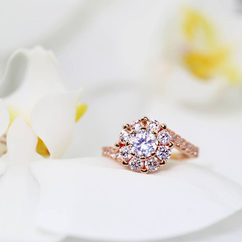 Bold Cocktail Engagement Ring in 14K Rose Gold over Sterling Silver