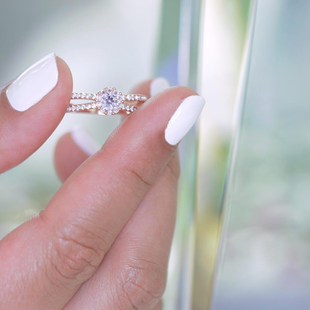 Rose Gold Split Shank Ring Sterling Silver 925 Statement Ring | Etsy