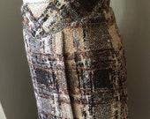Winter Wonderful 40 39 s Vintage Luxury Gorgeous Wool Plaid, Tweed Mohair Skirt, 4 Ply Silk Lining 26 quot