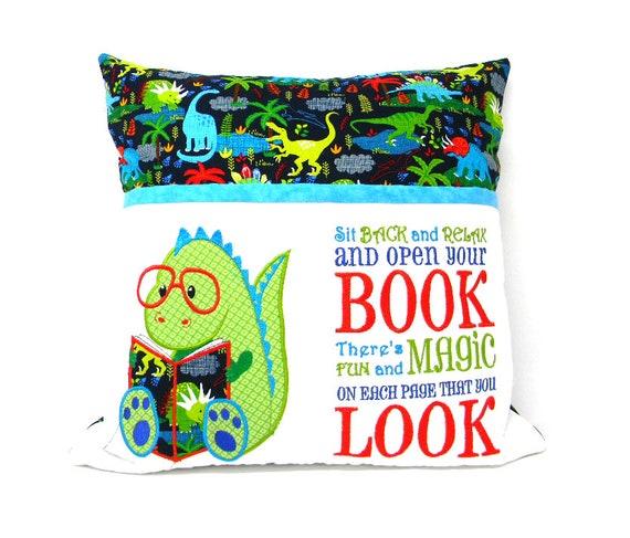 Dinosaurs Reading Pocket Pillow