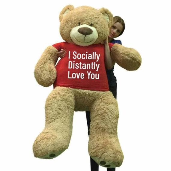 Red Teddy Bear 5 Feet, Big Plush Giant 5 Foot Teddy Bear Soft Wears Tshirt That Etsy