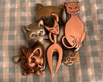 Vintage (?) metal cat brooch BENEFITS CHARITY