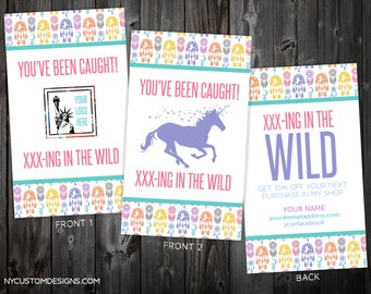 Set of 2 Double Sided You've Been Caught in The Wild Cards | Dreamcatcher Design | Standard Size 3.5 x 2 | Personalized
