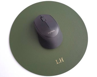 5 Colours Available | Personalised Round Mouse Pads | Home Office Decor | PU Leather | Birthday Present |  Gift