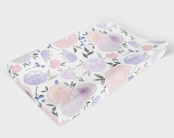 Wisteria Purple Changing Pad Cover with Stripes