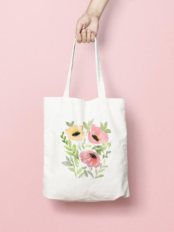 79b9537abb Tote Bag Canvas Tote Bag Flower Tote Bag Watercolor Tote
