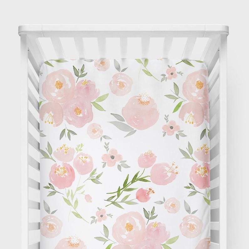 Girl Farmhouse Nursery Pink Flower Baby Bedding Floral Baby Bedding Baby Girl Nursery Decor Fitted Crib Sheet