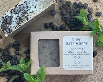 SONOMA COFFEE MINT Bar   All Natural Exfoliating Body + Kitchen Soap   Essential Oil Cold Processed Boxed Soap   Made in Sonoma County, Ca