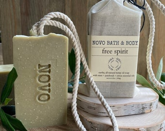SOAP ON A ROPE - Free Spirit   All Natural Essential Oil Cold Processed Face + Body Soap   Eco-friendly Zero Waste   Made in Sonoma County