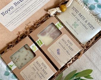 NOVO GIFT SET   2 Soap Bars + Soap Scrubber Gift Pack   Eco-Friendly Zero Waste   Made in Sonoma County, Ca