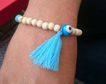 Boho bracelets / glass and wooden beads, turquoise / blue tones