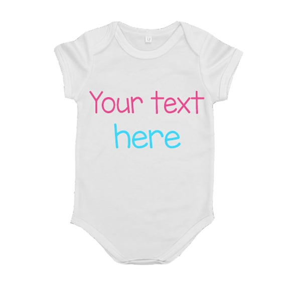 """Personalised /""""Your Text/"""" Baby SleepSuit//BodySuit Perfect Gift Xmas Christening"""