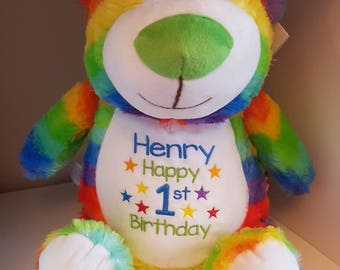 """Personalised 15"""" Cubbies, Rainbow Teddy Bear With Embroidered Design on Front"""