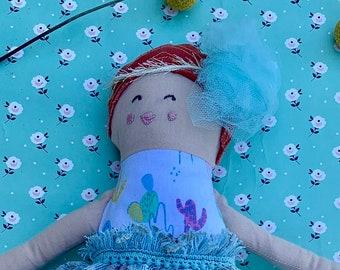 Fabric doll, Rag doll, cloth doll, Gatsby doll handmade, doll, vintage, lace, doll, embroidery