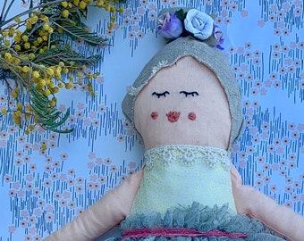 Fabric doll, Rag doll, cloth doll, Gatsby doll, handmade doll, vintage lace doll, embroidery