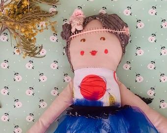 Fabric doll, Rag doll, cloth doll, Gatsby doll, handmade, doll, vintage, lace, doll, embroidery