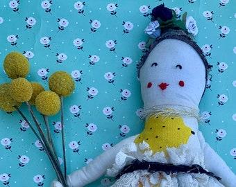 Fabric doll, Rag doll, cloth doll, Gatsby doll, handmade doll, vintage, lace doll, embroidery