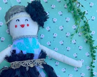 Fabric doll, Rag doll, cloth doll, Gatsby doll, handmade doll, vintage, lace, doll, embroidery
