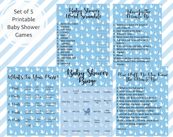 Baby Shower Printable Games | Set of 5 Games for Baby Shower | Baby Shower Bingo, Word Scramble, Advice for Mom, What's In Your Purse & More