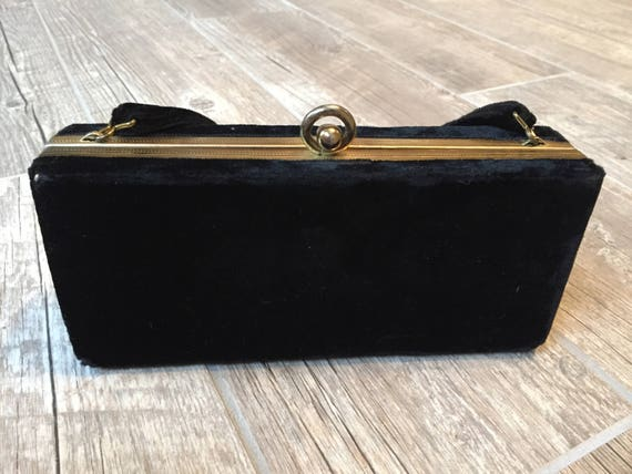 Black velvet vintage clutch; 1950's