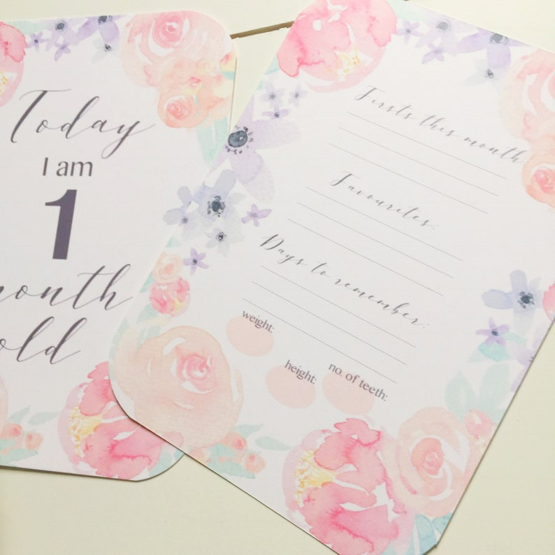 Floral flower Design Watercolour Peony Monthly photos Monthly MILESTONE cards