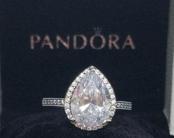 fa6458f73 Authentic Pandora Radiant Teardrop Clear CZ Ring 196251CZ org.100 dollars  W/ BOX size 5.5, 6,7,8,9 w/ 52,54,56,58 valentine's day